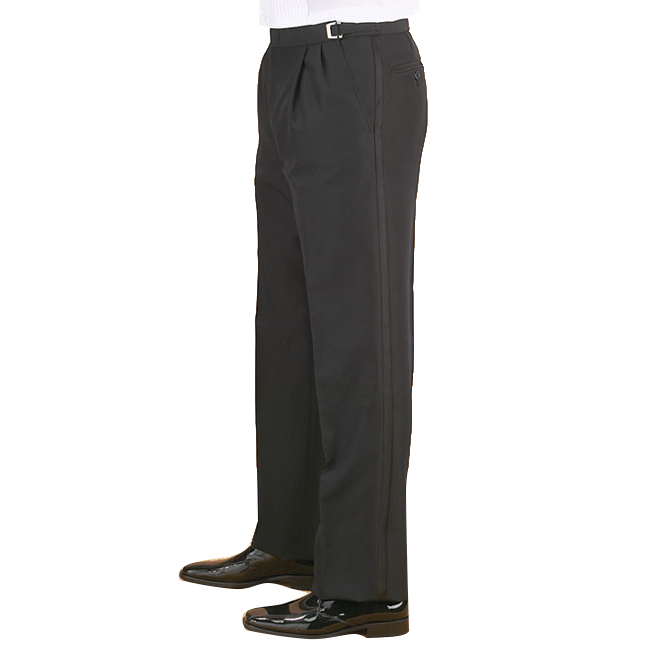 Mens Adjustable Pleated Tux Trousers
